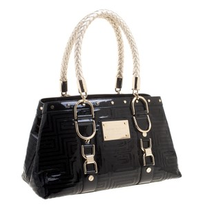 Versace Patent Leather Satin Two Braided Tote In Black