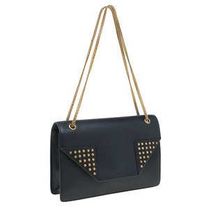 Saint Laurent Studs Leather Suede Shoulder Bag