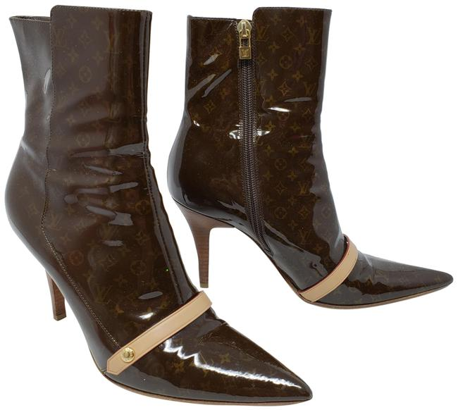 Item - Brown Patent Leather Gina Pointed-toe Ankle Boots/Booties Size EU 37.5 (Approx. US 7.5) Regular (M, B)
