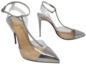 Christian Louboutin Snakeskin Metallic Ankle Strap So Kate Pigalle Silver Pumps