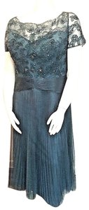 Alyce Paris Pleats Short Sleeve Beaded Sequined Ruched Waist Dress