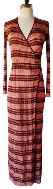 Item - Pink Orange Red New Metallic Chevron Printed Striped Maxi Long Cocktail Dress Size 6 (S)