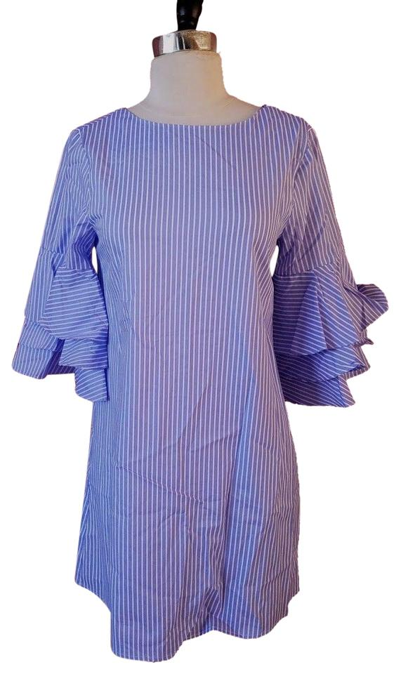 a150f6a0 Zara Blue/White New Poplin Ruffle Sleeve Striped Ruffle Small Short ...