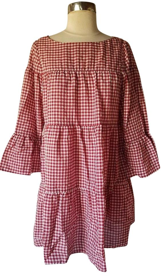 57d94e44ed Zara Red/White Gingham Tiered Mini Short Casual Dress Size 2 (XS ...