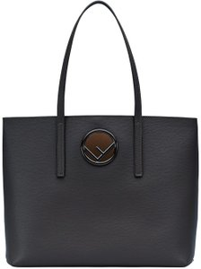 Fendi Logo Logo Logo Shopping Logo Shopping Tote in Black