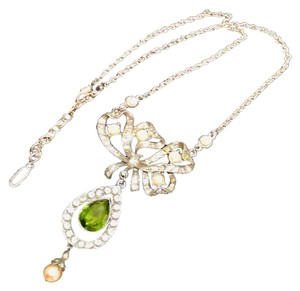 Ben-Amun vintage pearl and peridot drop necklace