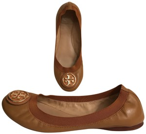 Tory Burch Ballet Leather Ballerina Comfortable Slip Ons Beige Tan Gold Flats