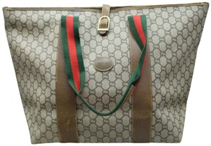 Gucci Sherry Web Soho Duffle Travel Tote in Brown