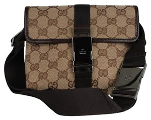 Gucci Gg Monogram Canvas Leather Brown Travel Bag
