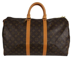 Louis Vuitton Duffle Monogram Canvas Keepall Keepall 45 Brown Travel Bag