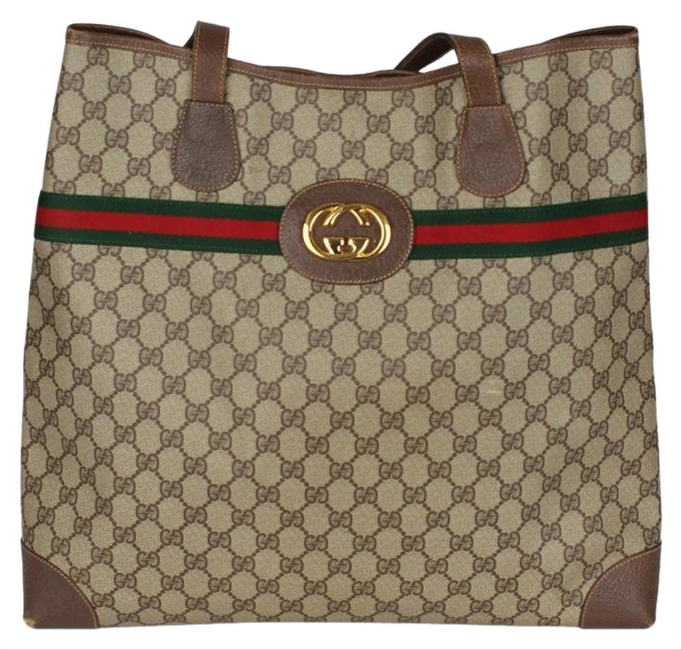 75d46bdd1 Gucci Shoulder Bag Webby Gg Supreme Vintage Leather 6800 Brown Canvas Tote