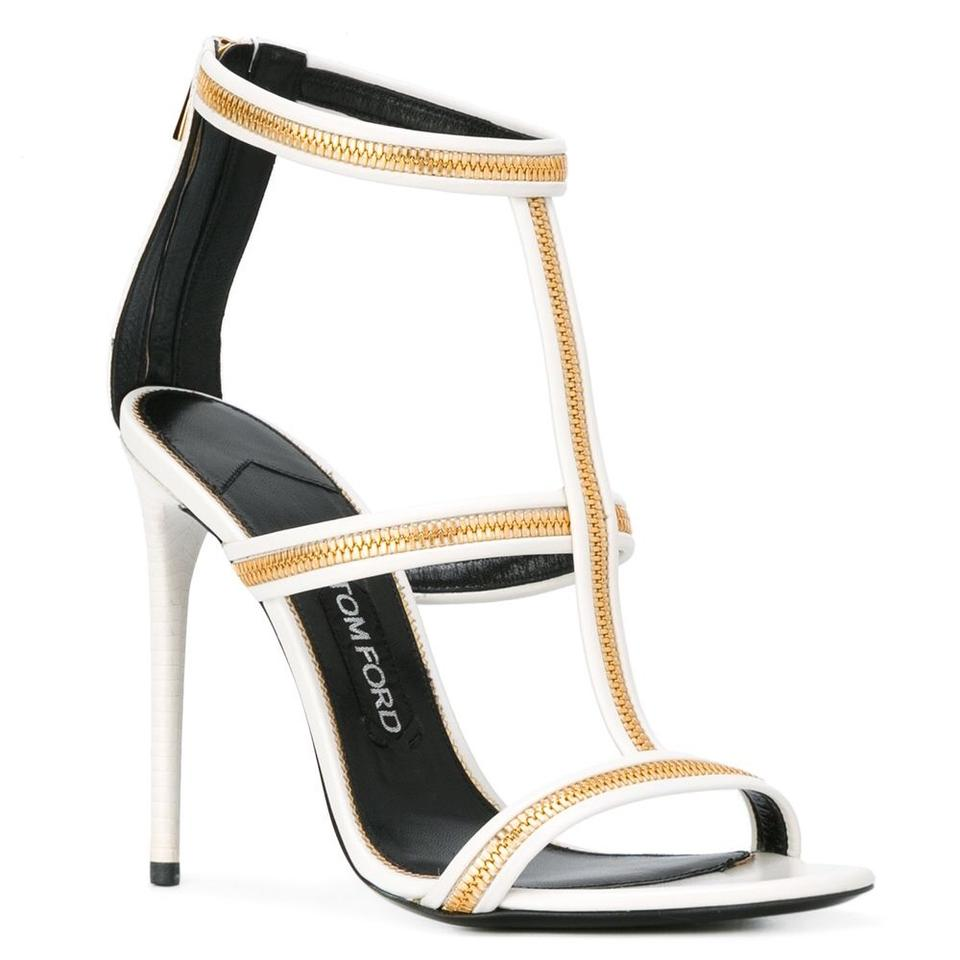 8df1cdf943dc Tom Ford White Zipper T-strap 105mm Caged Sandals Size EU 40 (Approx ...