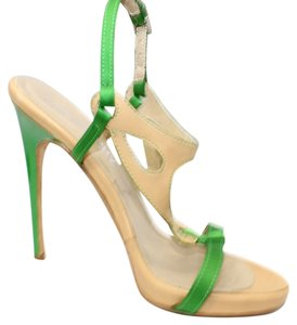 Other Leather Satin Open Toe Heels 36 GREEN/TAN Formal