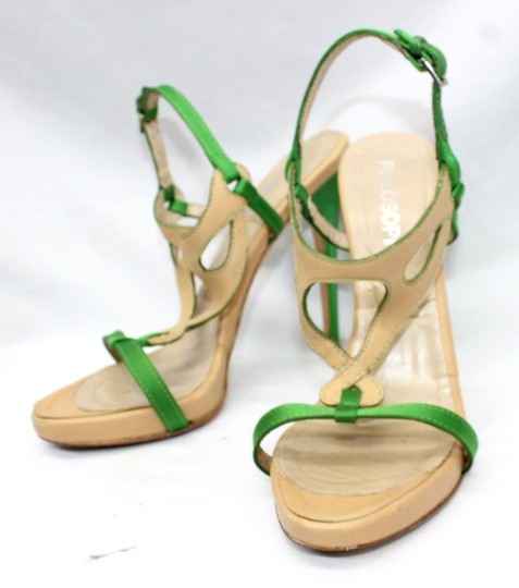 Other Leather Satin Open Toe Heels 36 GREEN/TAN Formal Image 1