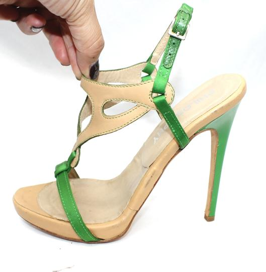 Other Leather Satin Open Toe Heels 36 GREEN/TAN Formal Image 2