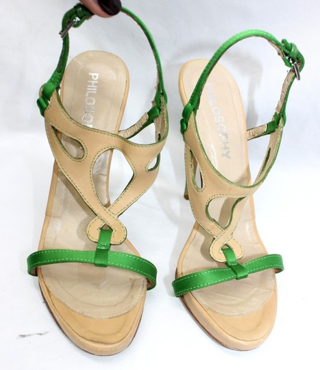 Other Leather Satin Open Toe Heels 36 GREEN/TAN Formal Image 3