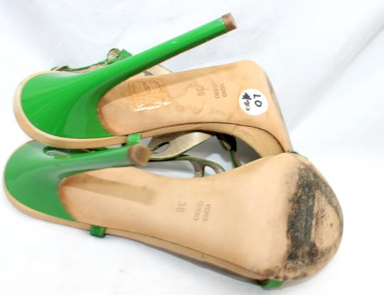 Other Leather Satin Open Toe Heels 36 GREEN/TAN Formal Image 4