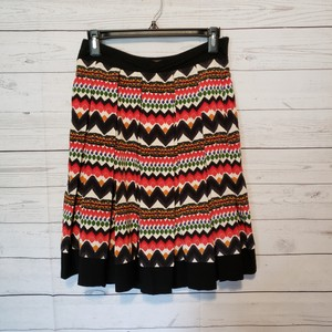 Anthropologie Pleated Polyester Tribal Print Skirt Multi-colored