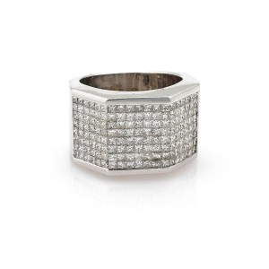 Other Estate 4.50ct Princess Cut Diamond 14k Gold Wide Band Ring
