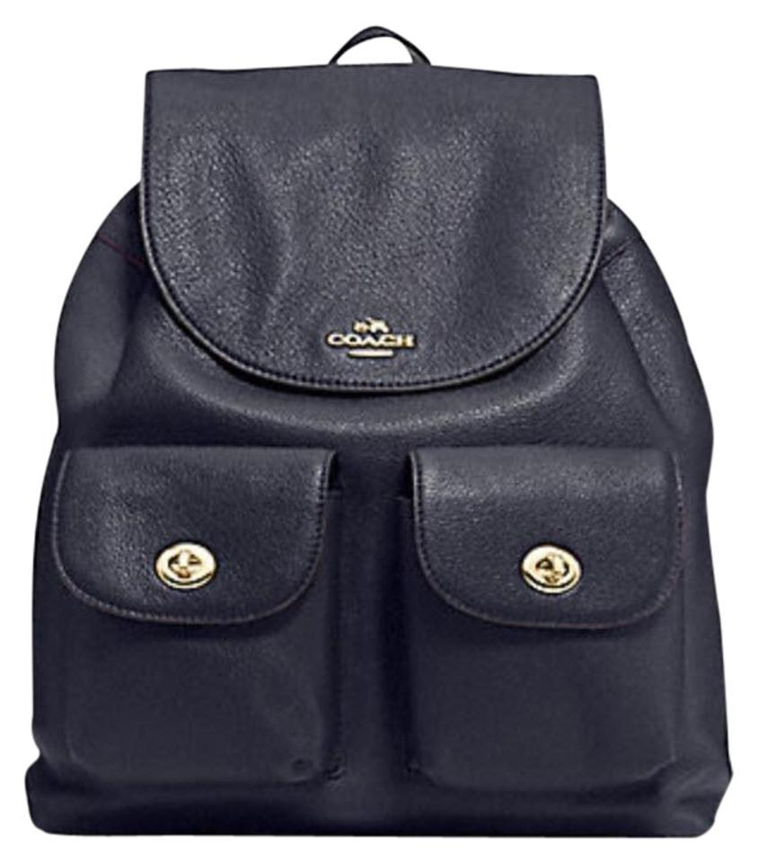 61b6afe21d Coach Billie Pebbled School Book Midnight- Navy Blue Leather Backpack 44%  off retail