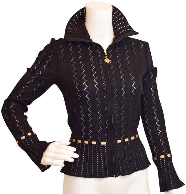 Item - Black/Beige Lacy Knits By Marie Gray Cardigan Size 4 (S)
