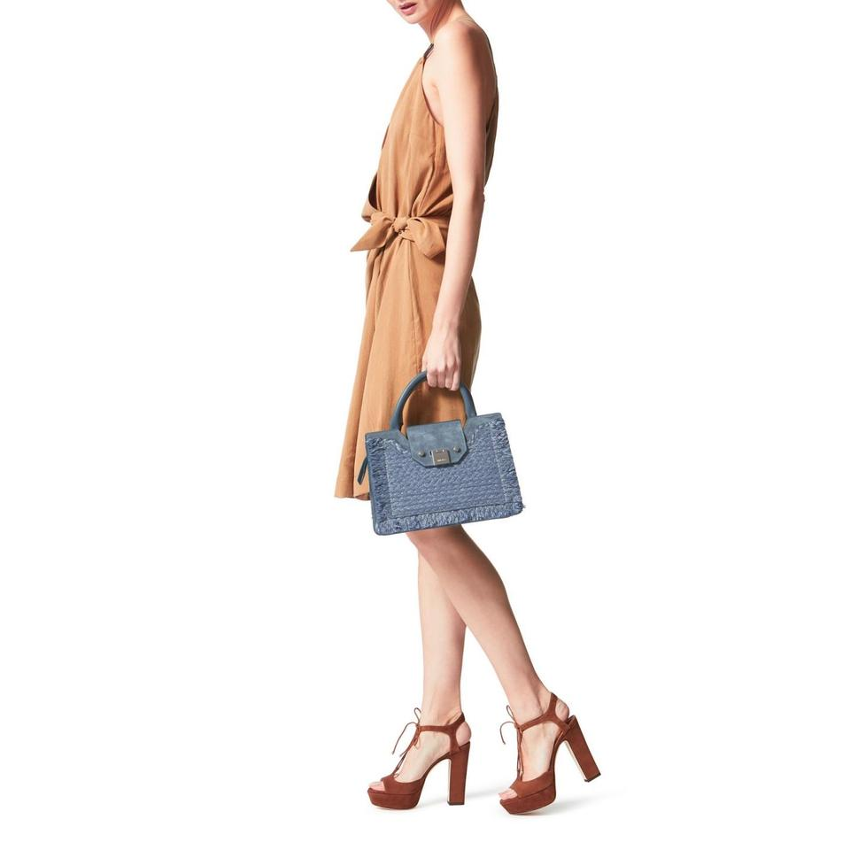 96cd0c8ecf1 Jimmy Choo Suede Raffia Leather Small Tote Clasp Cross Body Bag Image 5.  123456