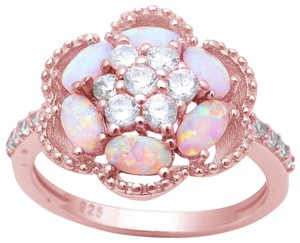 9.2.5 Amazing huge fire opal rose gold flower ring size 8.