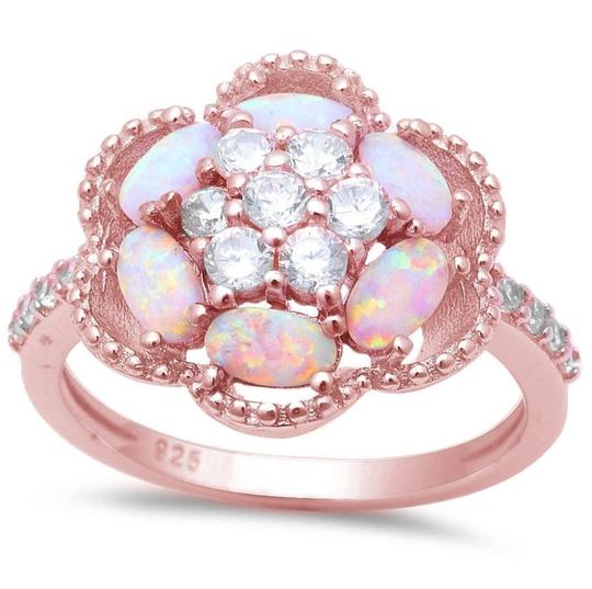 9.2.5 Amazing huge fire opal rose gold flower ring size 8. Image 1