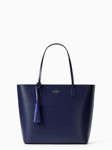 Kate Spade Wright Place Karla Leather Sawyer Street Tori Haven Street Maxi Tote in Sapphire/Nightlife blue
