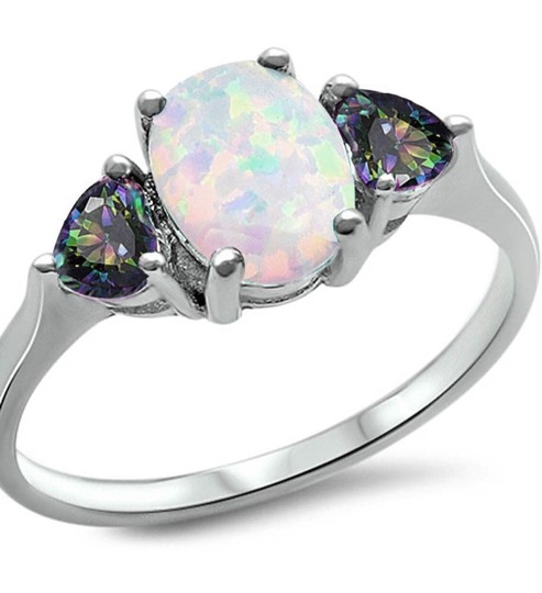 9.2.5 Gorgeous opal and rainbow topaz ring size 7 Image 1