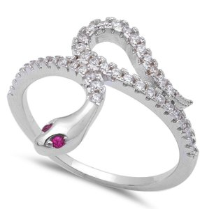 9.2.5 Stunning ruby snake cocktail ring size 7