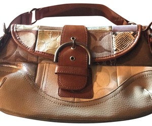 Coach Signature Leather Tote in neutral browns