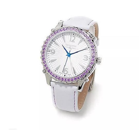 Preload https://img-static.tradesy.com/item/24312674/white-women-s-wamethyst-accented-leather-strap-watch-0-0-540-540.jpg