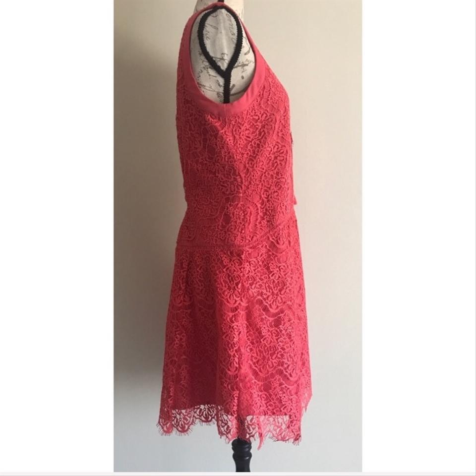 d26d8d31596 adelyn rae Coral Pink Lace Lace-up Short Casual Dress Size 8 (M ...