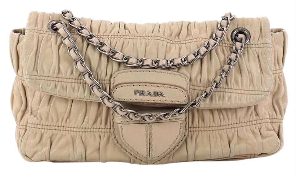 d01be49111d4 Prada Gaufre Chain Nappa Small Beige Leather Shoulder Bag - Tradesy
