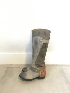 Kelsi Dagger Tall Leather Riding Distressed Gray Tan Boots