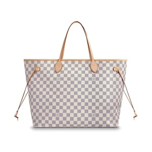 Louis Vuitton Damier Canvas Leather Neverfull Tote in White
