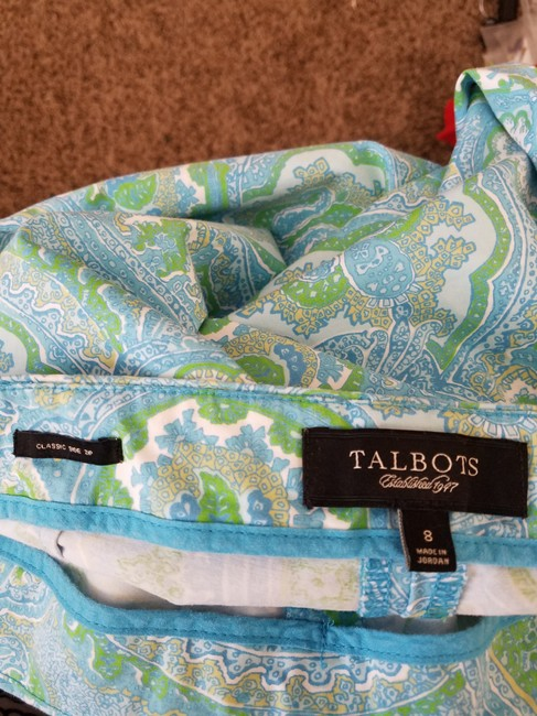 Talbots Paisley Side Zipper Capris Green/blue/white Image 1