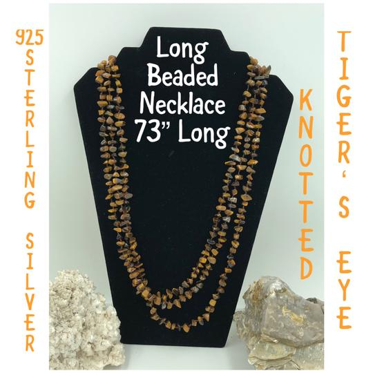 Preload https://img-static.tradesy.com/item/24313035/brown-dark-brown-and-silver-925-sterling-long-beaded-necklace-0-0-540-540.jpg
