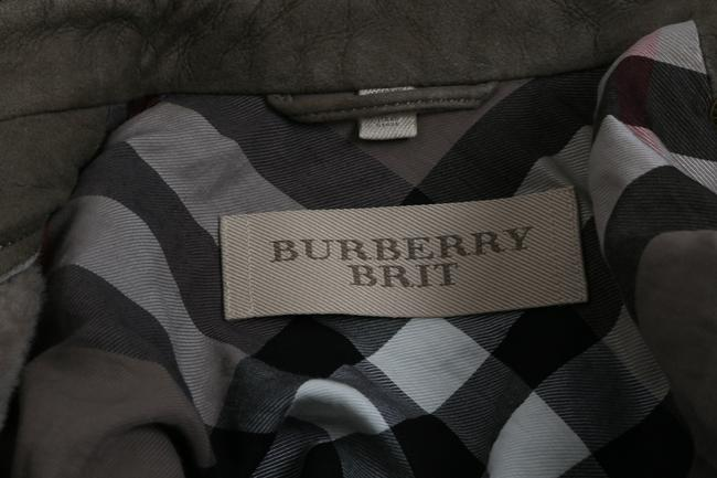 Burberry Brit Bomber Grey Leather Jacket Image 10