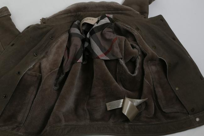 Burberry Brit Bomber Grey Leather Jacket Image 11