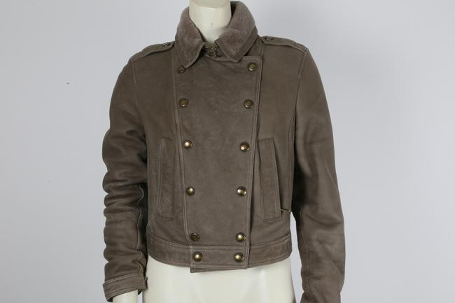 Burberry Brit Bomber Grey Leather Jacket Image 4