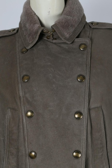 Burberry Brit Bomber Grey Leather Jacket Image 5