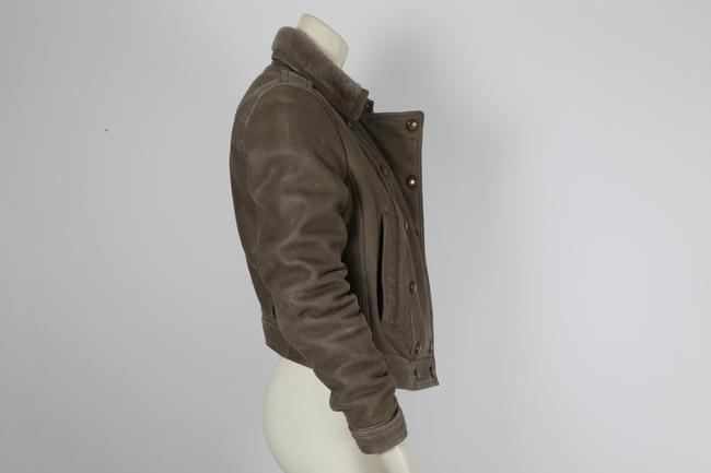 Burberry Brit Bomber Grey Leather Jacket Image 7