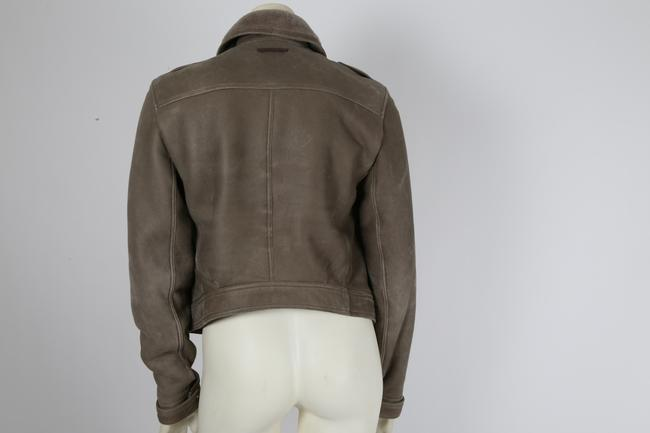 Burberry Brit Bomber Grey Leather Jacket Image 8