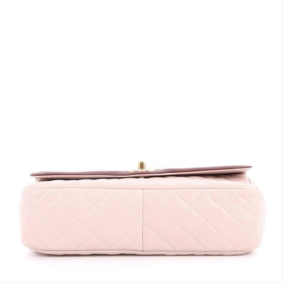 016e2729dc865 Chanel Classic Flap Two Tone Quilted Lambskin Medium Light Pink ...