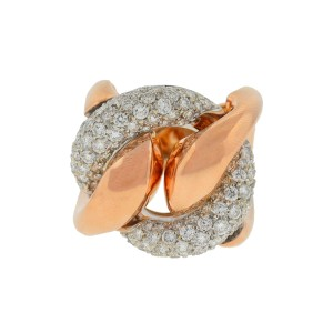 Other 18k Rose Gold Pave Diamond Free Form Rings Approx 2.32TCW