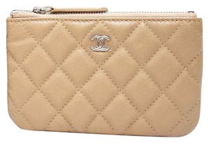 Chanel Small Beige Nude Caviar Leather O-Case Pouch for your Bag