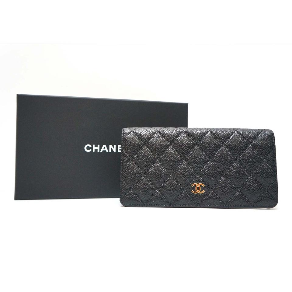 0072f2637b0b Chanel Large Flap Quilted Black Caviar Leather Classic L-Yen Bi-Fold Wallet  Image ...
