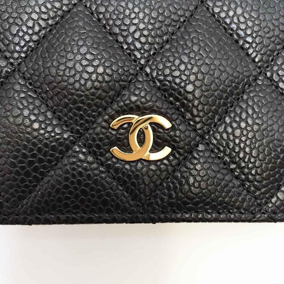 599700f5db05 Chanel Large Flap Quilted Black Caviar Leather Classic L-Yen Bi-Fold Wallet  Image. 12345678910